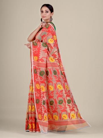 Beige and Red silk Cotton hand woven soft Jamdani saree 2