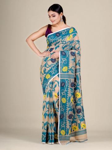 Beige and Blue silk Cotton hand woven soft Jamdani saree