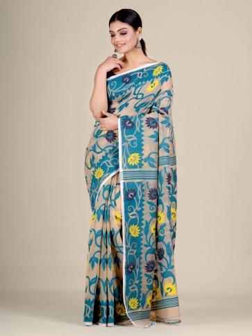 Beige and Blue silk Cotton hand woven soft Jamdani saree 1