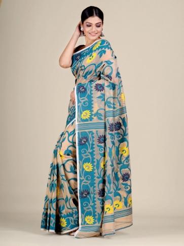 Beige and Blue silk Cotton hand woven soft Jamdani saree 0