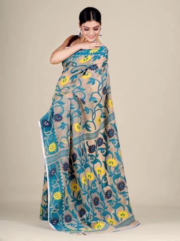 Beige and Blue silk Cotton hand woven soft Jamdani saree 2
