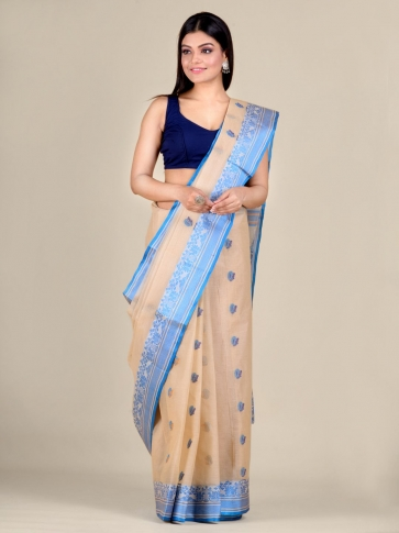 Beige pure Cotton hand woven  saree with Blue border