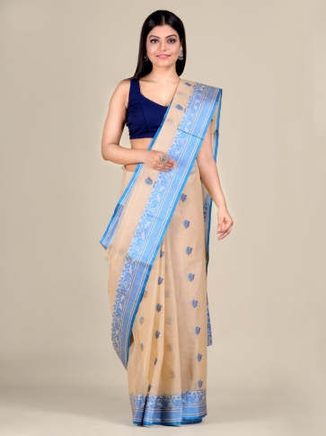 Beige pure Cotton hand woven  saree with Blue border 0