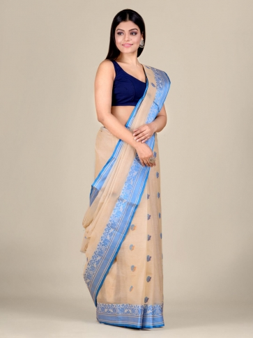 Beige pure Cotton hand woven  saree with Blue border 1