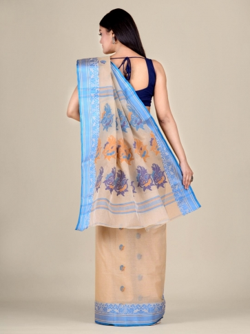 Beige pure Cotton hand woven  saree with Blue border 2