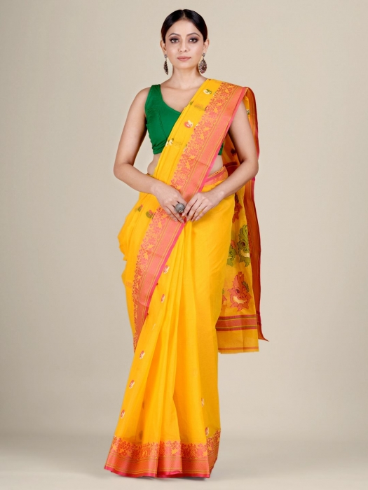 Yellow pure Cotton hand woven  saree with Red border 0