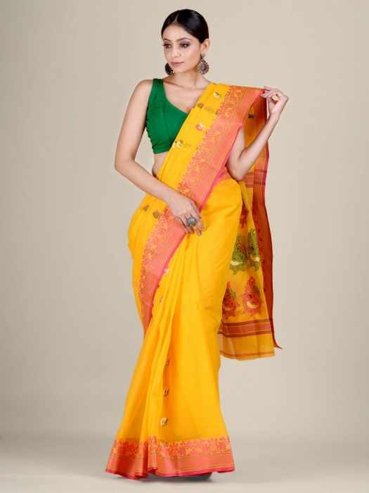 Yellow pure Cotton hand woven  saree with Red border