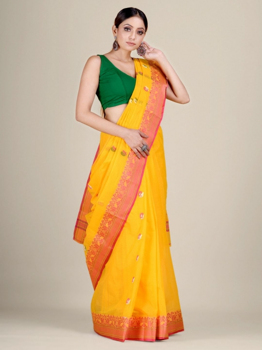 Yellow pure Cotton hand woven  saree with Red border 1