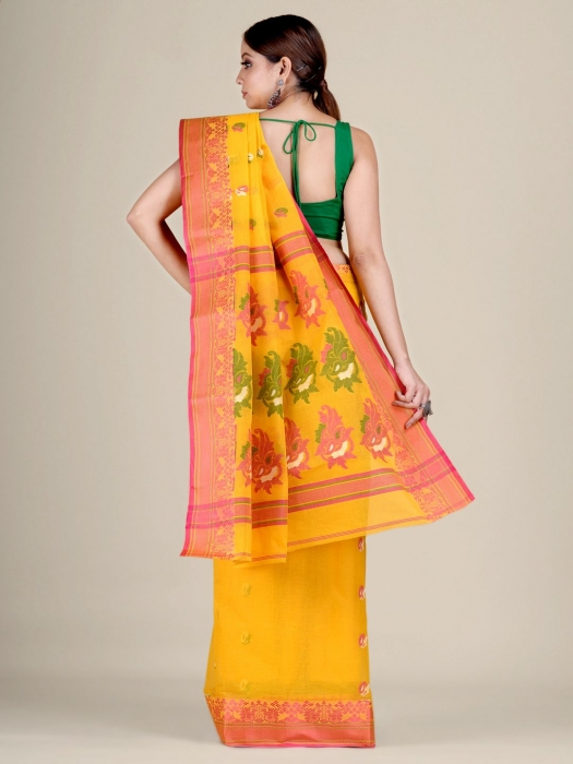 Yellow pure Cotton hand woven  saree with Red border 2