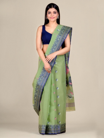 Green pure Cotton hand woven  saree with Blue border 0