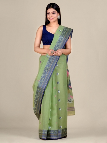 Green pure Cotton hand woven  saree with Blue border