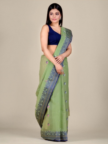 Green pure Cotton hand woven  saree with Blue border 1
