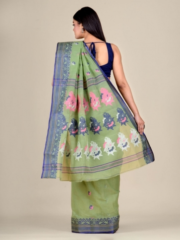 Green pure Cotton hand woven  saree with Blue border 2
