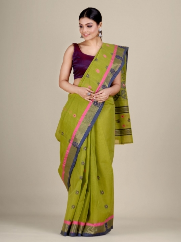 Green pure Cotton hand woven  saree with duel border