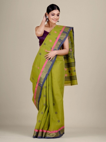 Green pure Cotton hand woven  saree with duel border 1