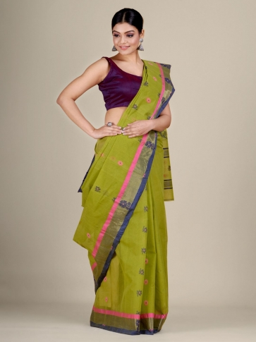 Green pure Cotton hand woven  saree with duel border 0