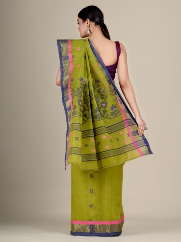 Green pure Cotton hand woven  saree with duel border 2