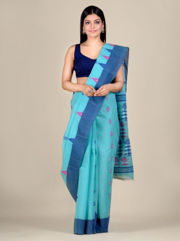 Blue pure Cotton hand woven  saree with temple border