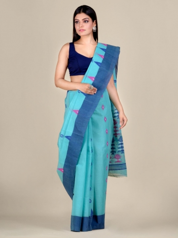 Blue pure Cotton hand woven  saree with temple border 1