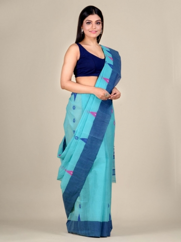 Blue pure Cotton hand woven  saree with temple border 0
