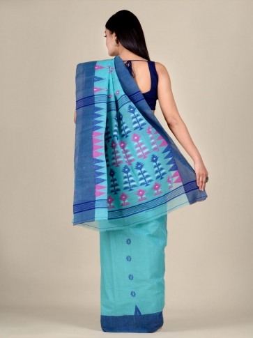 Blue pure Cotton hand woven  saree with temple border 2
