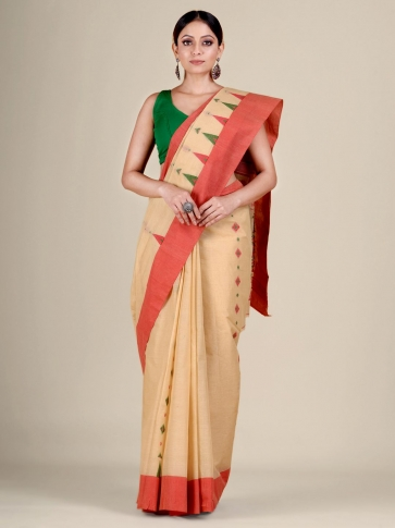 Beige pure Cotton hand woven  saree with temple border