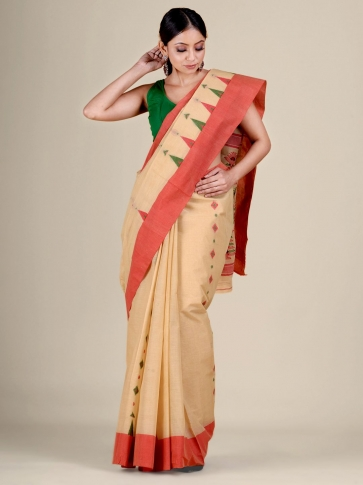 Beige pure Cotton hand woven  saree with temple border 0