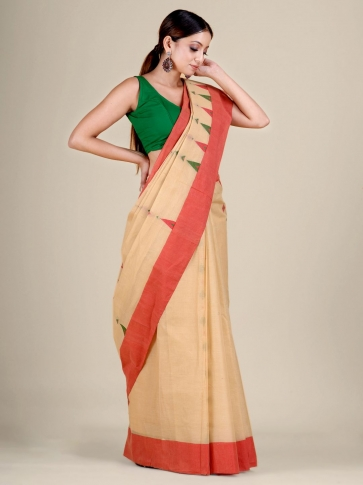 Beige pure Cotton hand woven  saree with temple border 1
