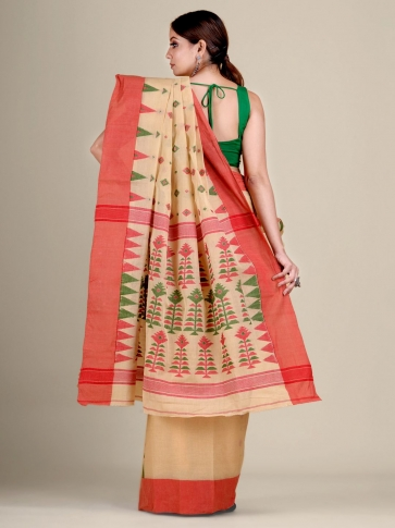 Beige pure Cotton hand woven  saree with temple border 2