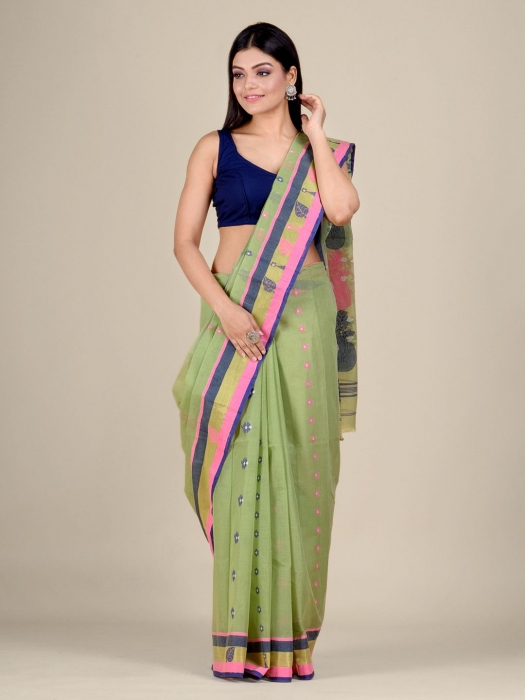 Light Green pure Cotton hand woven  saree with Pink and Blue border