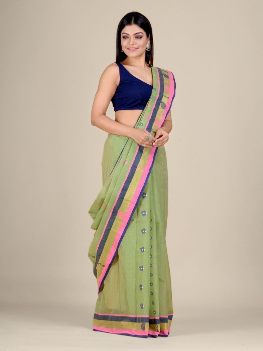 Light Green pure Cotton hand woven  saree with Pink and Blue border 2