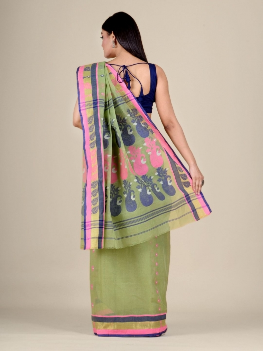 Light Green pure Cotton hand woven  saree with Pink and Blue border 0