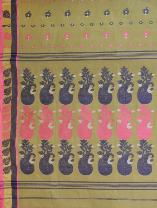 Light Green pure Cotton hand woven  saree with Pink and Blue border 1
