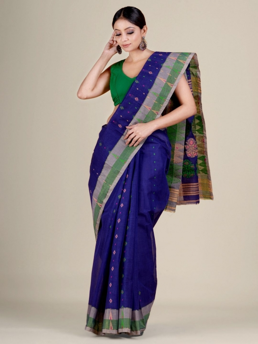 Blue pure Cotton hand woven  saree with Ash and Green border