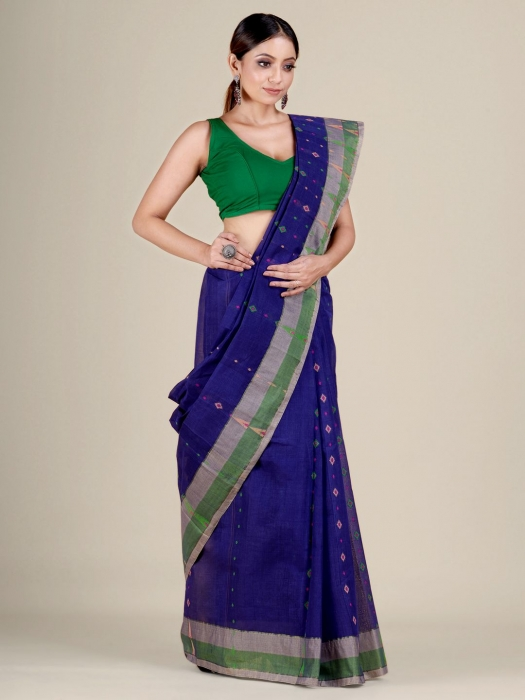 Blue pure Cotton hand woven  saree with Ash and Green border 1