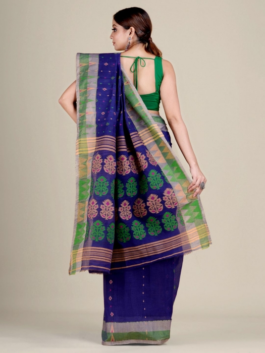Blue pure Cotton hand woven  saree with Ash and Green border 2