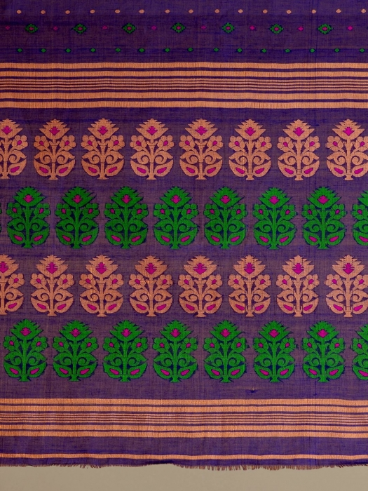 Blue pure Cotton hand woven  saree with Ash and Green border 0