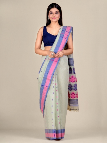 Sea Green pure Cotton hand woven  saree with Pink and Blue border