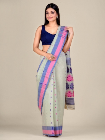 Sea Green pure Cotton hand woven  saree with Pink and Blue border 1