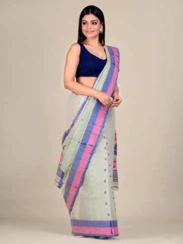 Sea Green pure Cotton hand woven  saree with Pink and Blue border 0