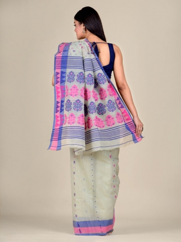 Sea Green pure Cotton hand woven  saree with Pink and Blue border 2