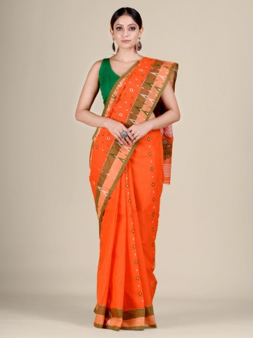 Orange pure Cotton hand woven  saree with temple border 1