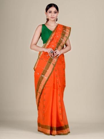 Orange pure Cotton hand woven  saree with temple border 0