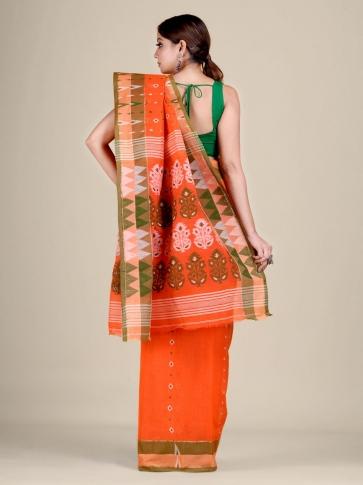 Orange pure Cotton hand woven  saree with temple border 2