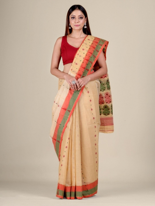 Beige pure Cotton hand woven  saree with Orange and Green border