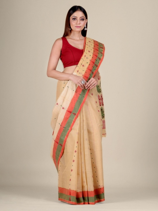 Beige pure Cotton hand woven  saree with Orange and Green border 1
