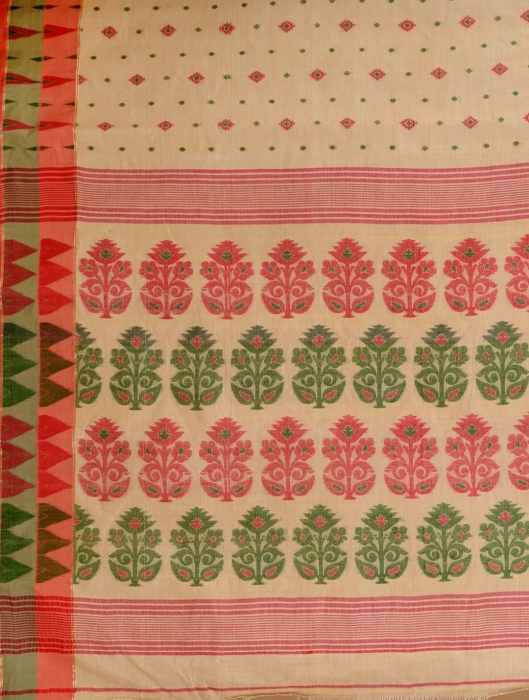 Beige pure Cotton hand woven  saree with Orange and Green border 2