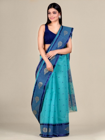 Blue Cotton hand woven Tant saree with nakshi border 1