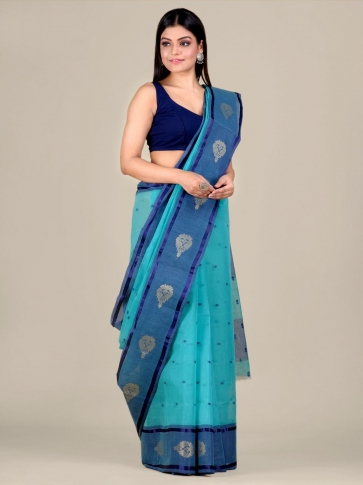 Blue Cotton hand woven Tant saree with nakshi border 0