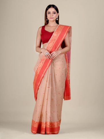 Beige Cotton hand woven Tant saree with Red border 1